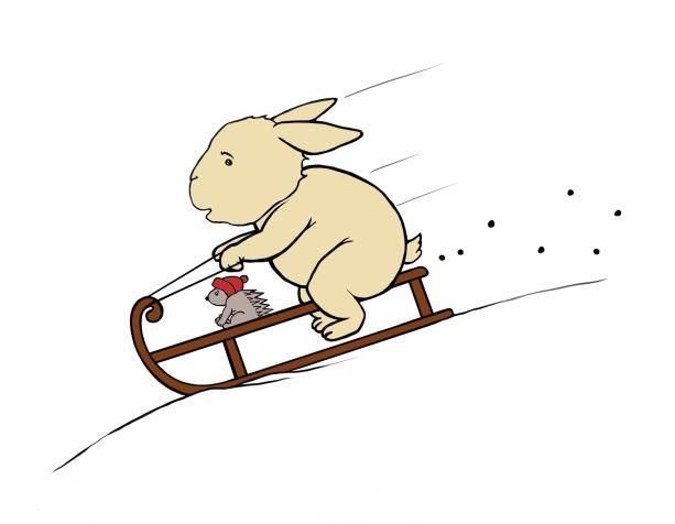 Digital drawing of bunny and hedgehog sledging