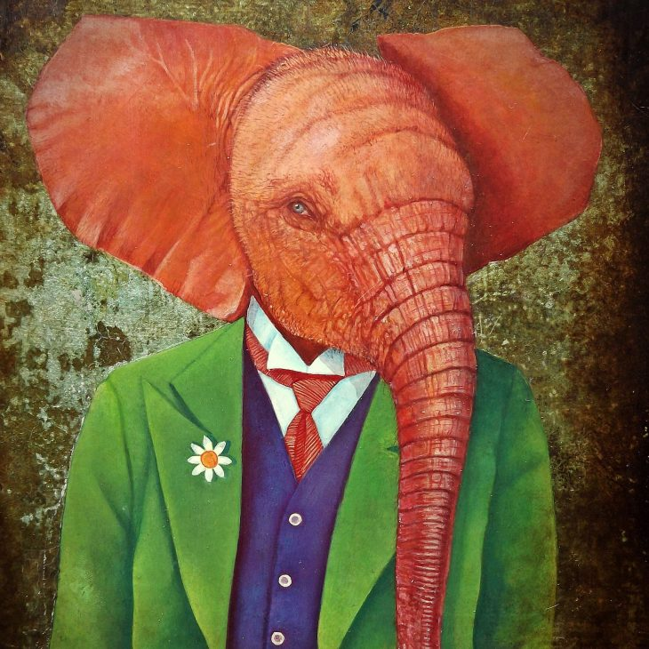 Oil painting portrait of a red elephant dressed in a green suit, red tie and blue vest