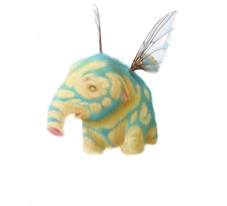 Digital drawing of a tiny elephant with fly wings and blue-coloured fur