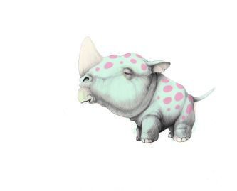 Digital drawing of tiny rhinoceros with light green skin and pink dots