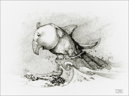 Pencil drawing with small fantasy creature whalefant perching on a rock in the waves