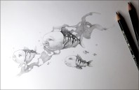 Pencil drawing of five fishes with friendly faces