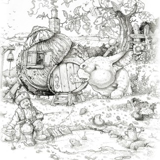 Pencil drawing with fantasy creature in a garden with snail house and gnome fishing