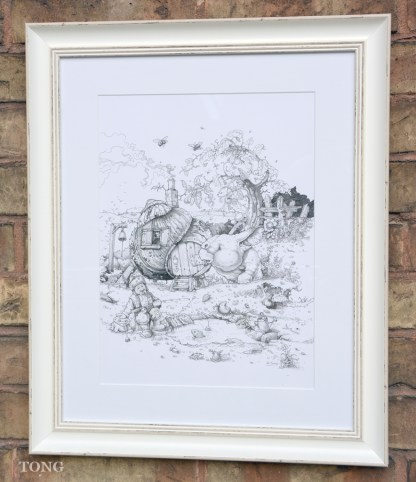 Pencil drawing with fantasy creature infront of snail house in a garden