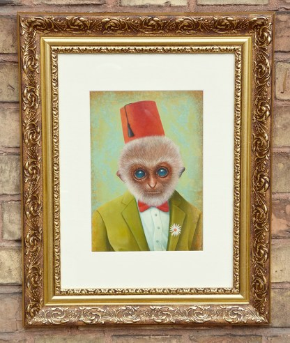 Oil painting of monkey man with green jacket and red hat