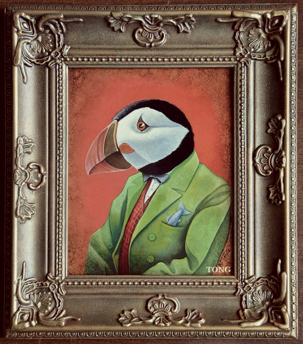 Oil painting of puffin dressed with green jacket