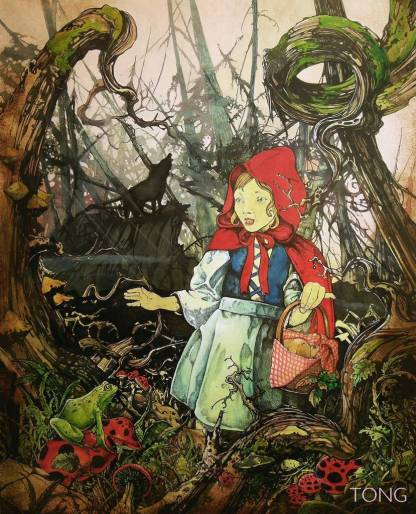 Ink drawing of red riding hood lost in a scary forest with wolf howling in the background