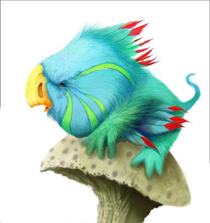 Digital drawing of aquamarine-coloured bird perched on mushroom