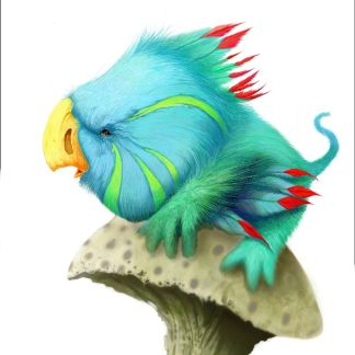 Digital drawing of aquamarine-coloured bird perched on mushroom