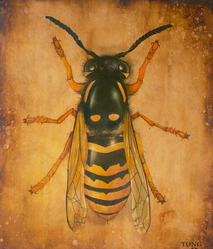 Oil painting of giant wasp on a gilded background