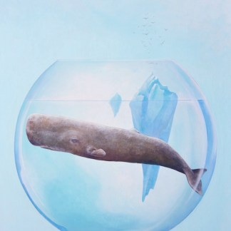 Oilpainting of a sperm whale in a fishbowl with an iceberg