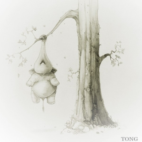 Pencil drawing with dwarf elephant hanging off a tree on his trunk