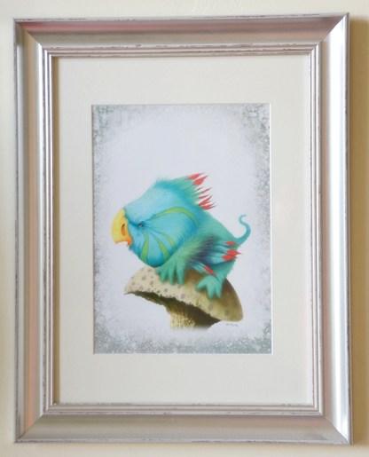 Aquamarine coloured fantasy bird perched on a mushroom