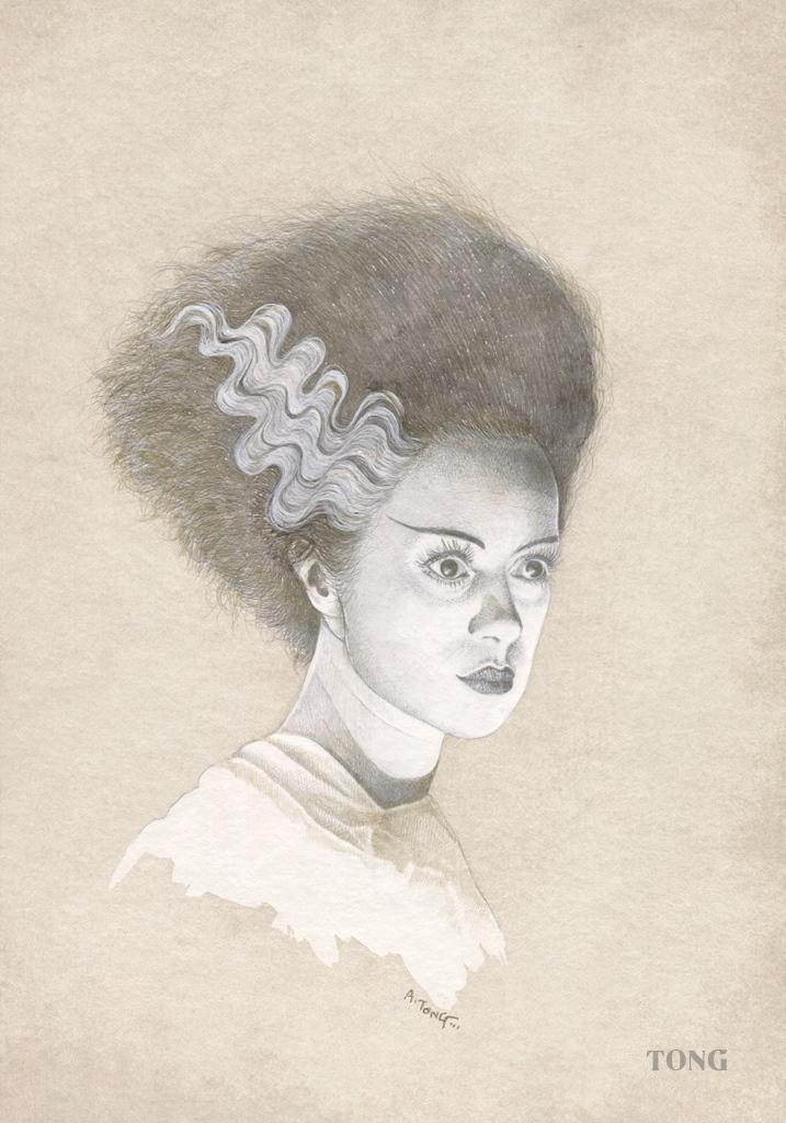 Silverpoint artwork of Elsa Lanchester as the bride of Frankenstein