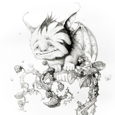 Drawing of fantasy creature called plummet perched on a blackberry bush