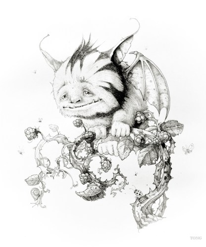 Pencil drawing of fantasy creature called the Plummet