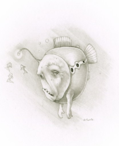 Pencil drawing of fish with grumpy face, arms and a light dangling off his head