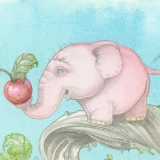 artwork of dwarf pink treelephant standing on a branch holding a berry