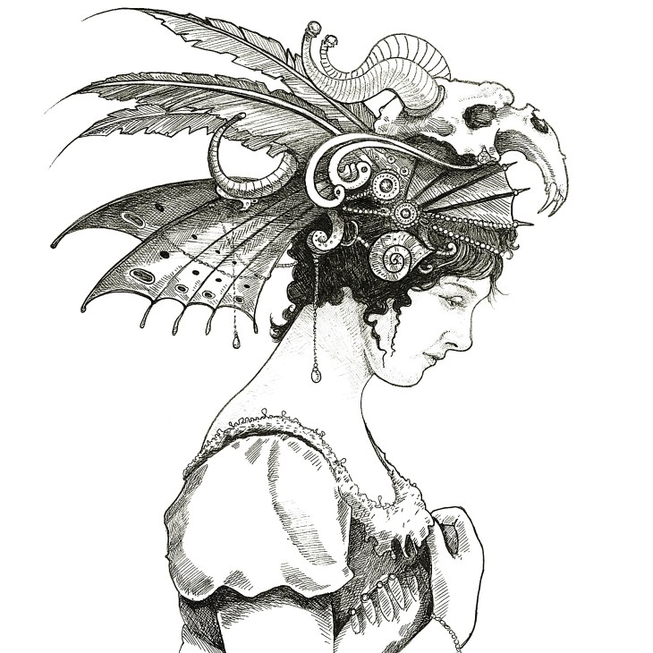 Drawing of woman with fancy headdress containing a goat skull by Andrew Tong Art