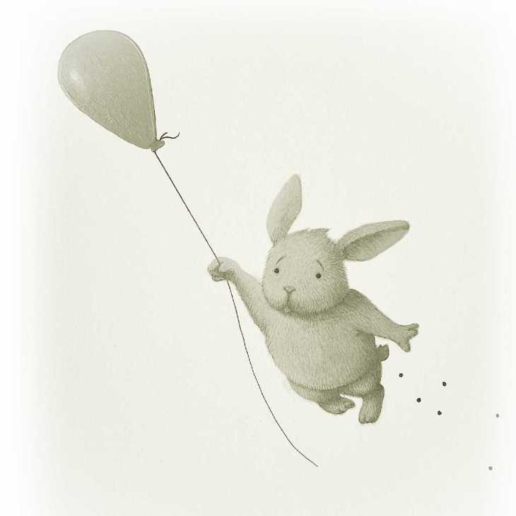 drawing of pooing bunny flying with a balloon Andrew Tong Art