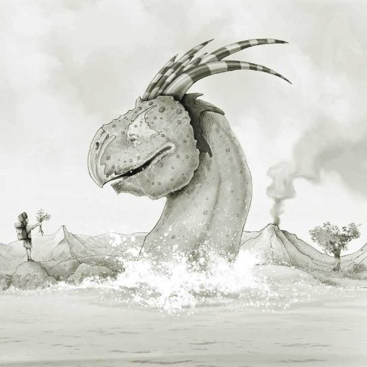 drawing of serpent head coming out of the water facing a little boy on land Andrew Tong Art