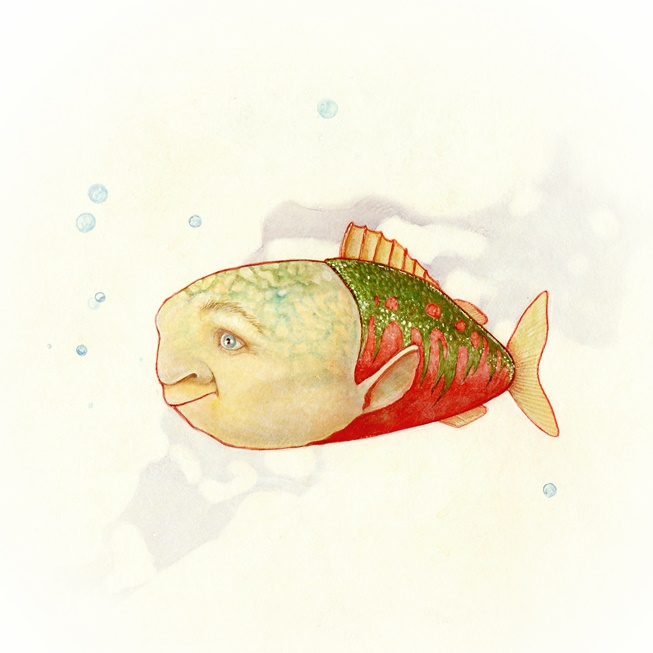 Coloured drawing of a fish with a solemn face