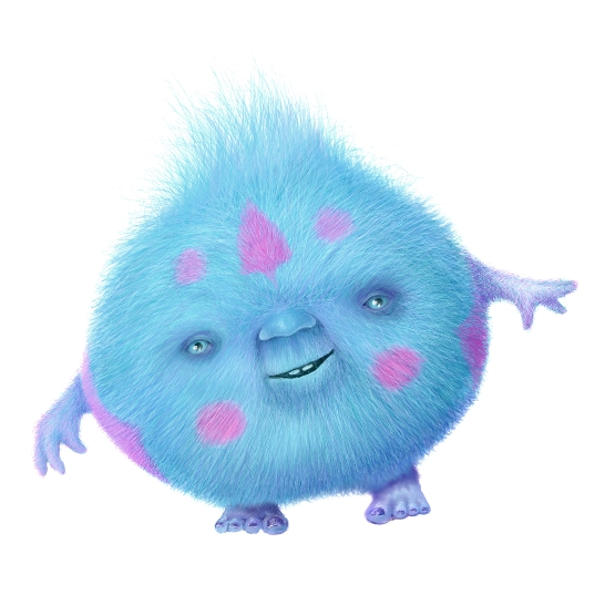 Digital drawing of blue, smiling creature looking like a hairball