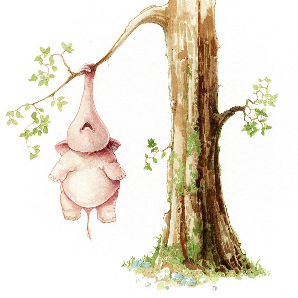 Coloured drawing of pink tree elephant hanging of tree branch by his trunk