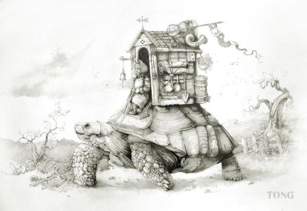 Print Explorer travelling on a turtles back