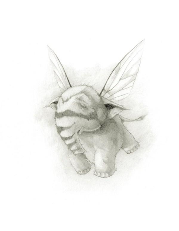 honeyphant print of tiny flying elephant