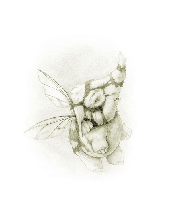Pencil drawing of flying elephant with bee wings