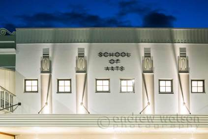 Image of art deco style facade of the Cairns School of Arts building