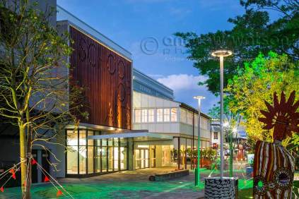 Twilight image of the new & old School of Arts facades
