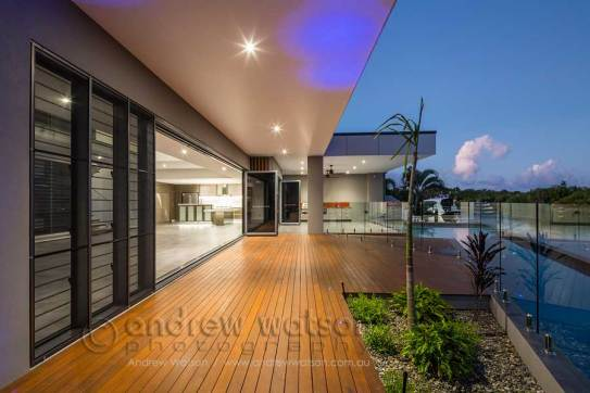 Pool deck of waterfront home in Bluewater, Cairns
