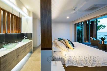 Interior image of master bedroom & ensuite in architectural-designed home