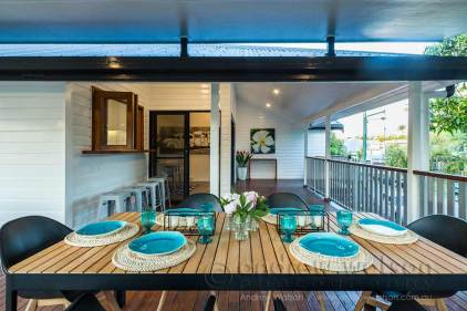 Image of outdoor dining area in MiHaven renovated home