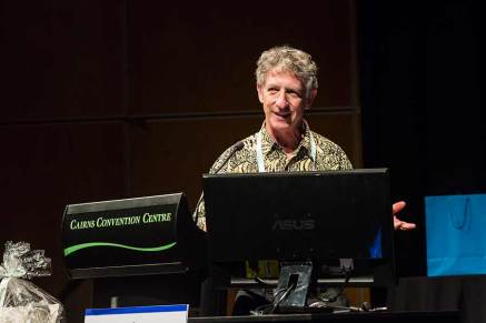 Image of conference speaker during plenary sessions of ANZSGM 2016