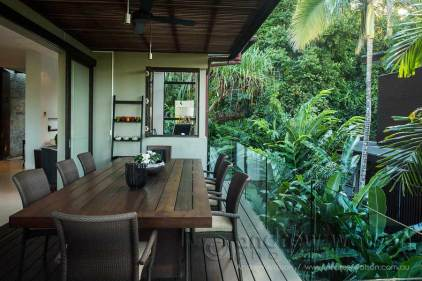 Image of dining area in residential tropical garden in Port Douglas