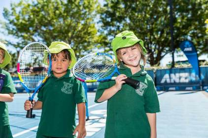 Image of kids at tennis clinic