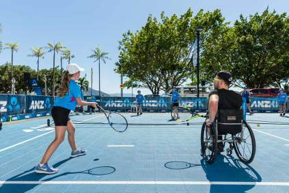 Image of Dylan Alcott on court at Hot Shots Tennis Clinic