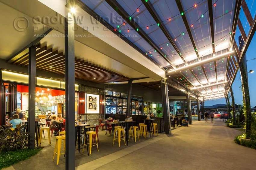 Image of outdoor cafes at Smithfield Shopping Centre at twilight