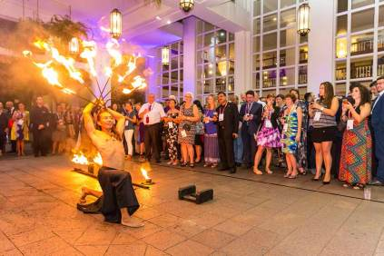 Image of fire dancer performing at dinner reception during ANZA 2017