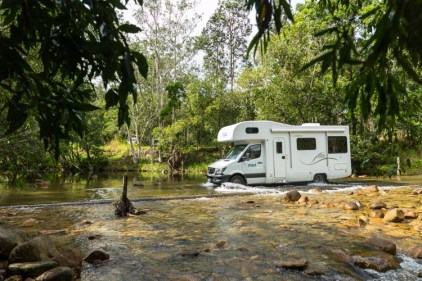 Image of campervan crossing a creek in Eungella National Park