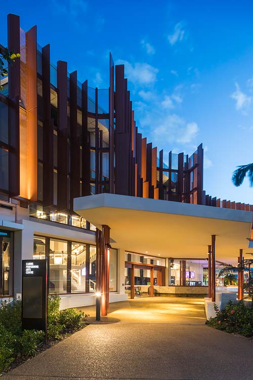 Exterior of the Cairns Performing Arts Centre entrance at twilight