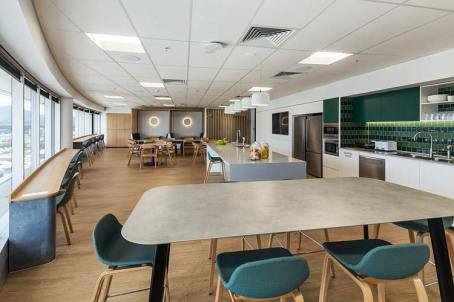 Interior of staff kitchen and social area at accountants office