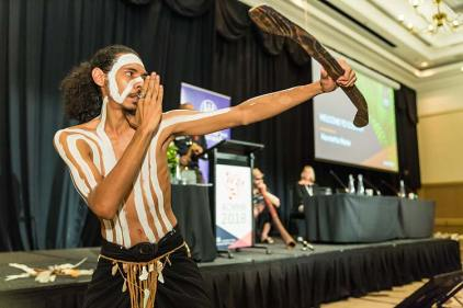 Aboriginal dancer at 'Welcome to Country' ceremony at conference