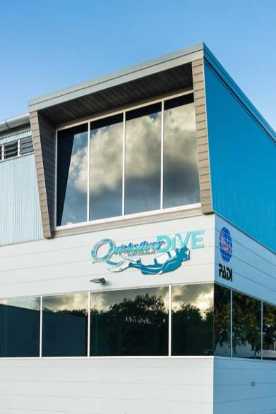 Exterior of the Quicksilver Dive Centre showing window detail