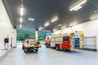 Interior of the Gordonvale Fire Station showing fire truck bays