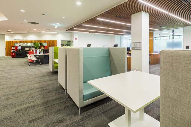 Interior of the James Cook University library showing private study zone