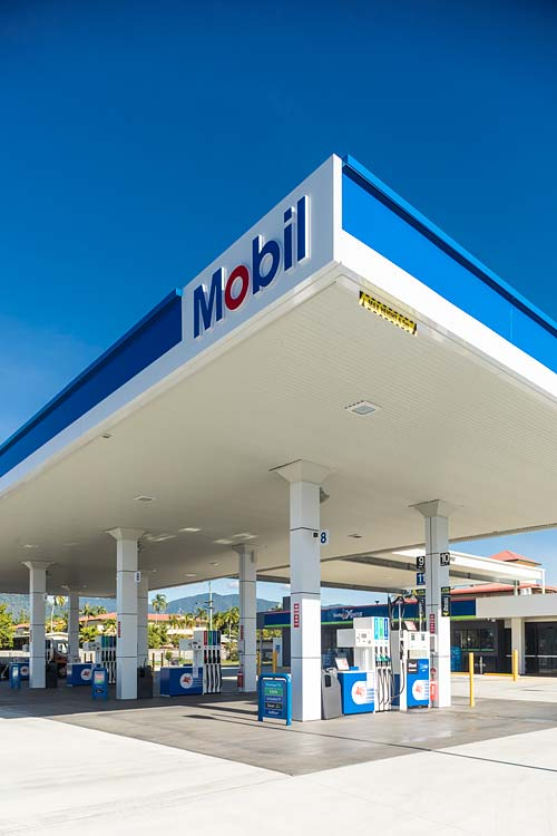 Fuel pump forecourt of Mobil service station in Cairns